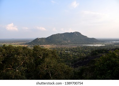 View from Mihintale temple to the countryside with forest Sri Lanka