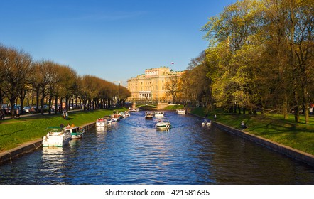 View of the Mikhailovsky Castle and the river Moyka. Saint Petersburg. Russia.