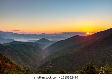 View from Mikoshitouge in early morning, Kumanokodo Road, Wakayama prefecture, Japan