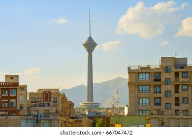 View of Milad Tower and apartment buildings in Tehran, Iran