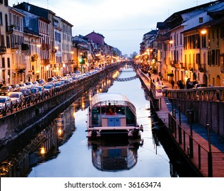View of the Milan canal. Milan, Italy
