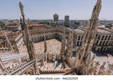 View from Milan Cathedral (Duomo) rooftop. Milan, Italy
