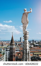 View of Milan from the top of Duomo Cathedral, main architectural landmark of the city.