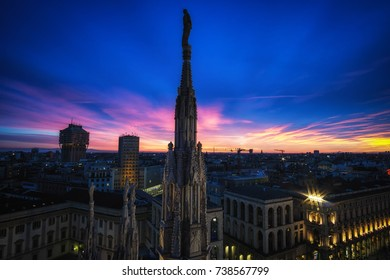 View of Milan and top of Duomo viewed from Milan Duomo rooftop.