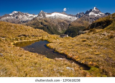 View of Milford range from Routeburn track in New Zealand