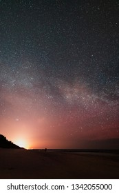 view of the milky way from the beach