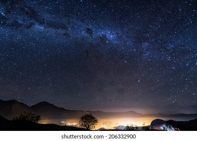 View of the Milky Way over the Elqui Valley in Chile