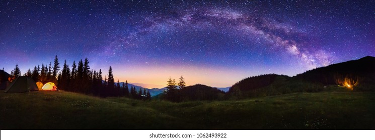View of the Milkyway Galaxy at the Carpathian National Nature Park