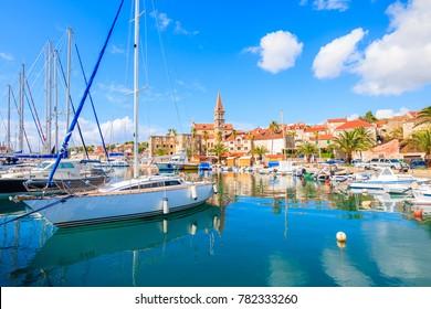 View of Milna port with sailing boats, Brac island, Croatia