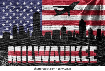 View of Milwaukee City on the American flag on the jeans texture