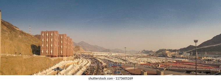 View of Mina During Hajj Season 2012. It is in this city of Mina near Mecca that the Hajj pilgrims perform the ritual stoning of the Devil (ramy al-jamarat) on the last day of the Hajj.