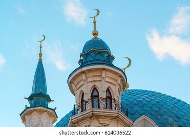 View of the minarets mosque Kul-Sharif at a sunset. Russia, Tatarstan