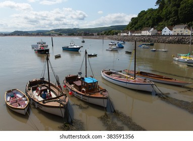 View from Minehead harbour with boats towards the west country tourist town in Somerset England uk in summer with blue sky on a beautiful day