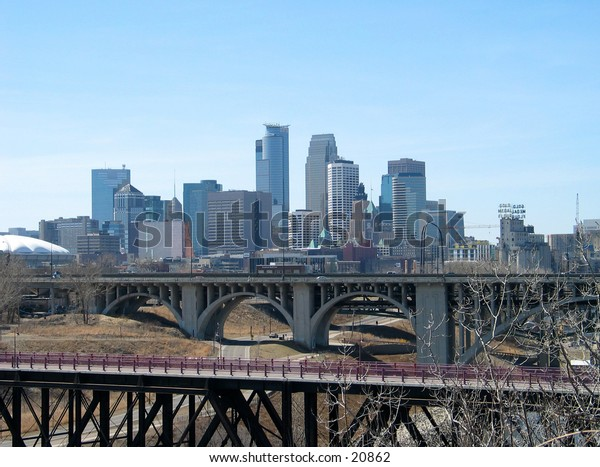 View of Minneapolis, Minnesota from a distance.