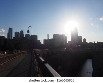 View of the Minneapolis Skyline from the Stone Arch Bridge in Minnesota