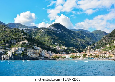 View of Minori, a small town on the Amalfi coast, Italy, from the Tyrrhenian Sea. Minori is located between Amalfi and Maiori and is a popular tourist destination