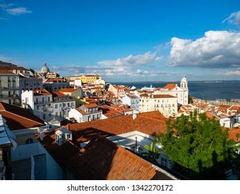 View from the Miradouro Santa Luzia to the old town of Lisbon on the Santo Estêvão Church, district Alfama, Lisbon, Portugal