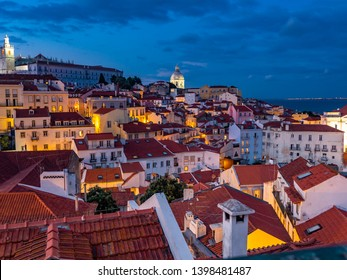 View from the Miradouro Santa Luzia to the old town of Lisbon, behind the, National Pantheon, Alfama district, Lisbon, Portugal, jul 2017