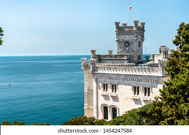 View of Miramare Castle near Trieste in Italy