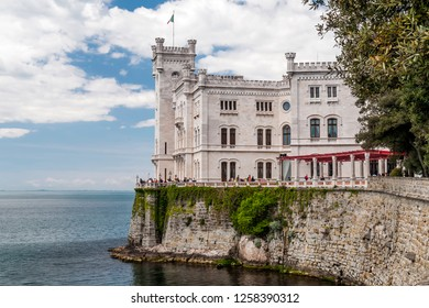 View of the Miramare Castle on the Gulf of Trieste, Friuli Venezia Giulia, Italy