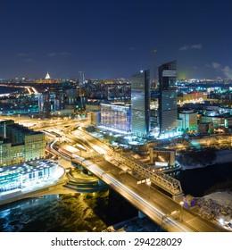 View of Mirax Plaza and Third Ring Road at night, Moscow