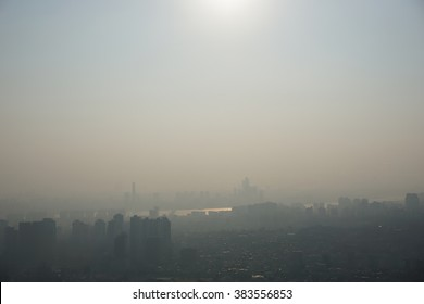 view of mist in the seoul city