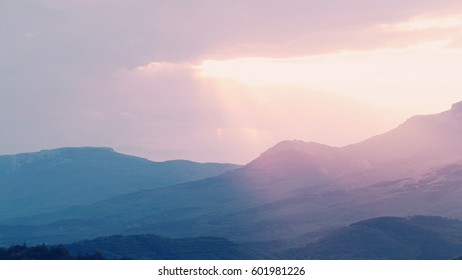 View of misty landscape with mountains, Crimea. Minimalism
