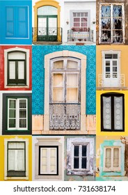 View of a mixed colage of traditional portuguese windows.