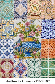 View of a mixed colage of traditional portuguese azulejo tiles.