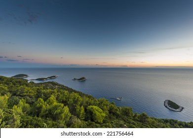 View from Mljet Island at sea with small islands.