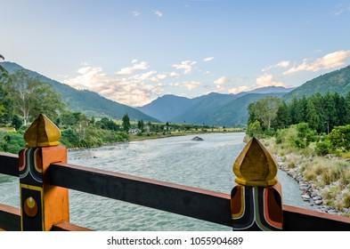 View in the Mo River Valley from the ancient bridge at the Punakha Dzong, Punaka, Thimphu, Bhutan