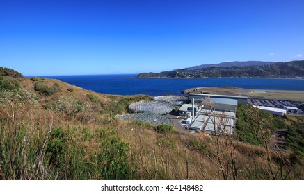 View from Moa Point Fort towards Wellington Airport in Wellington, New Zealand