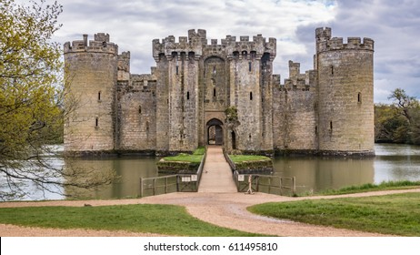 View of a moated medieval castle in England