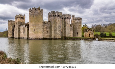 View of a moated medieval castle in Southern England