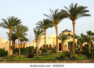 View for modern arabian style resort in evening sunset rays. Makadi-bay. Egypt