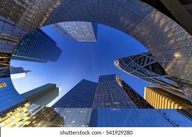 Up view of modern building at La Defense, Business district at the west of Paris, France
