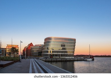 View to a modern building in Rostock, Germany.
