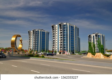 View of the modern buildings in the city of Argun. Chechnya