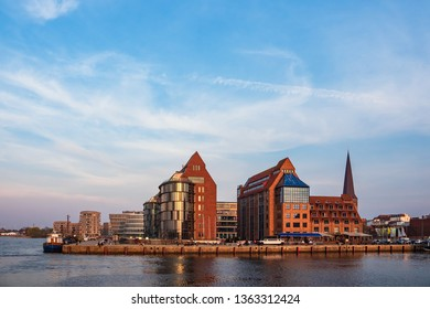 View to modern buildings in Rostock, Germany.