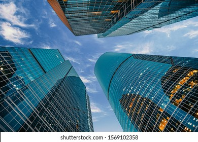 view of modern corporate buildings against the blue sky. high-rise buildings and skyscrapers Moscow International Business Center (Moscow City), Russia. City view from the bottom up