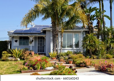 View of a modern cottage with solar panels on the roof in Westside of Los Angeles, CA.