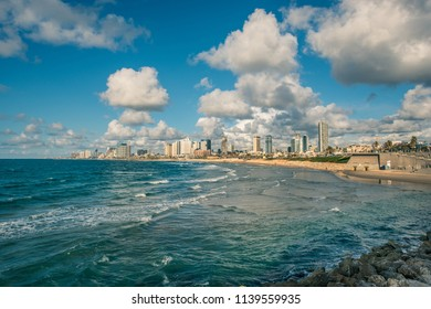 View of the modern district of Tel Aviv, Israel, and the sea shore from the historic part of the city