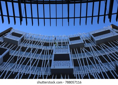 View of a modern facade of a building located at Marcel Godechot place in Montpellier city France. Pure white lines and circular forms seen from above. The picture has been taken on 4th december 2017.