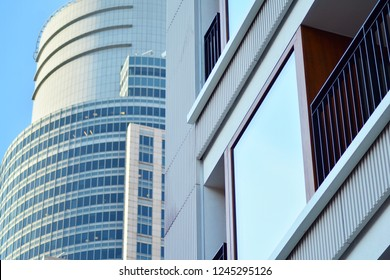 View of modern glass skyscraper,exterior of glass wall with abstract texture