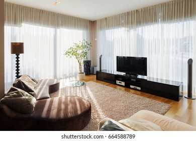 View of modern living room with sofa and tv set. Stylish interior of room for relax with arm chairs, wooden furniture, plants and large windows.