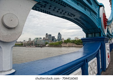 View of modern London from a bridge. London, UK