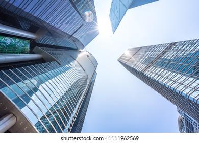 up view of modern office building in hongkong china