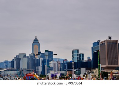 View of modern skyscrapers in downtown Hong Kong