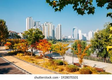 View of modern skyscrapers and Gwanggyo Lake Park at autumn in Suwon, Korea