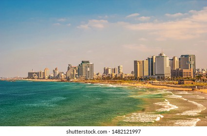 View of modern Tel Aviv on  Mediterranean coast